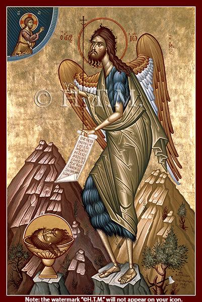 Image for St. John the Forerunner - Kontoglou, Open Scroll (7 x 10, glossy)