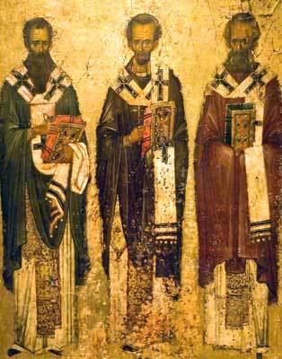 Image for St. Basil, St. Gregory Theologian, St. John Chrysostom - the Three Holy Hierarchs - 13th c. Vatopaidi (8 x 10)