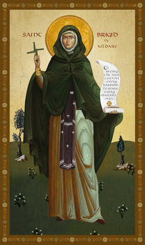 Image for St. Brigid of Kildare with Decorative Border (6.5 x 10)